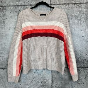 Express // Chenille Striped Pullover Sweater